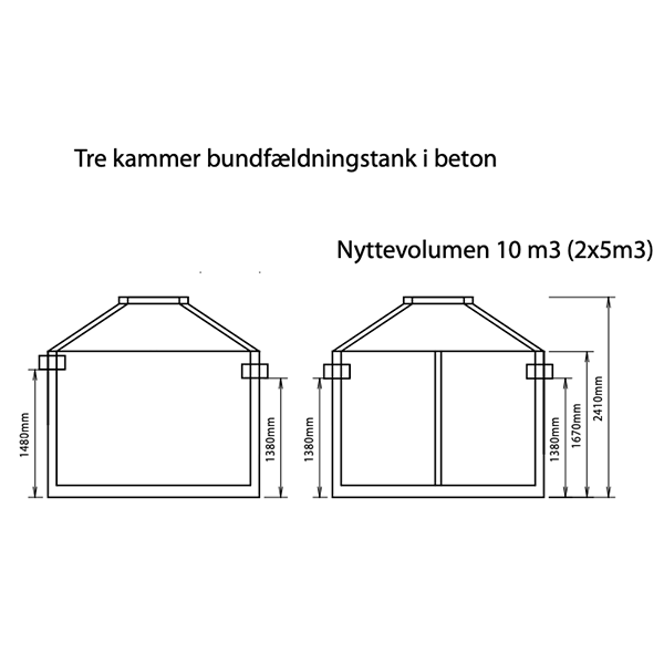Tegning over tre kammer bundfældningstank i beton - Watersystems