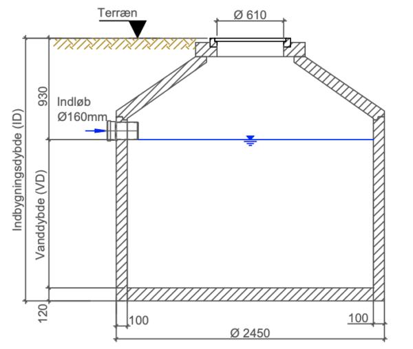 Tegning over samletanke i kegleform 5 ton fra Watersystems
